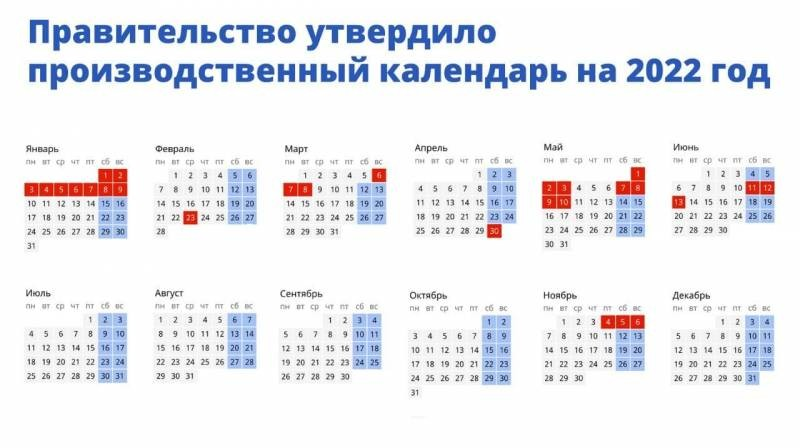 Опубликован утвержденный календарь на 2022 год с праздниками и выходными днями
